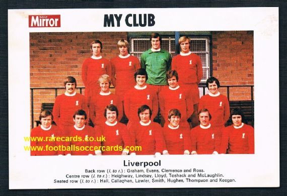 1970 My Club Daily Mirror postcard-size card Liverpool